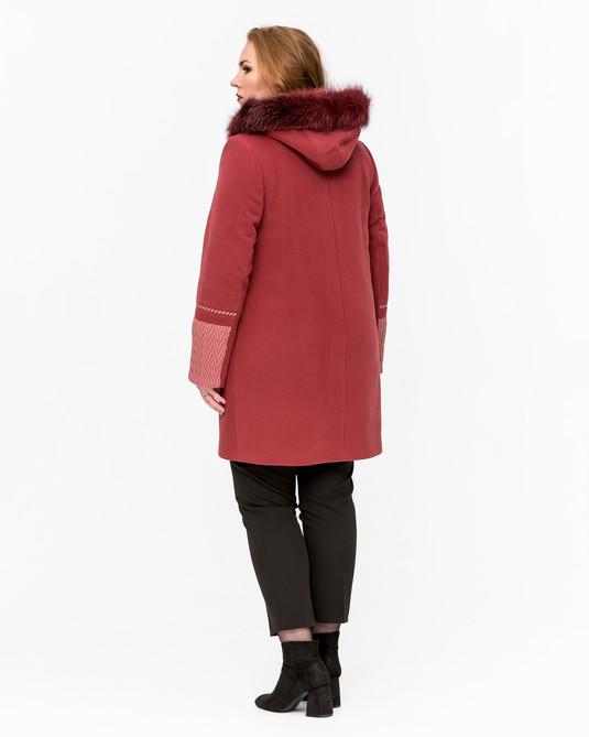 Пальто свингер коса ягодное