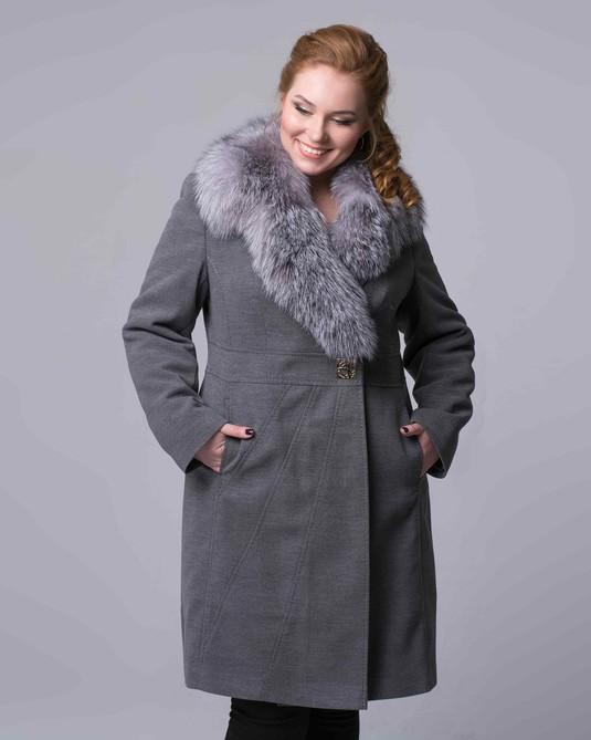 Классическое пальто шаль серое