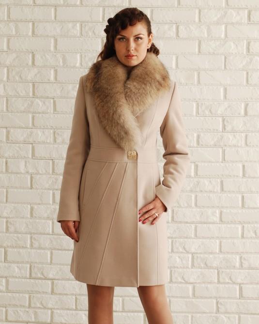 Классическое пальто шаль беж