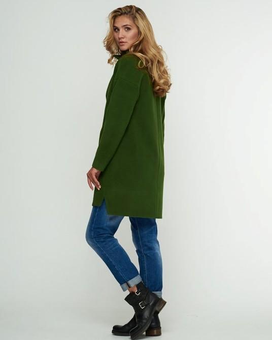 Пальто свободного кроя зеленое
