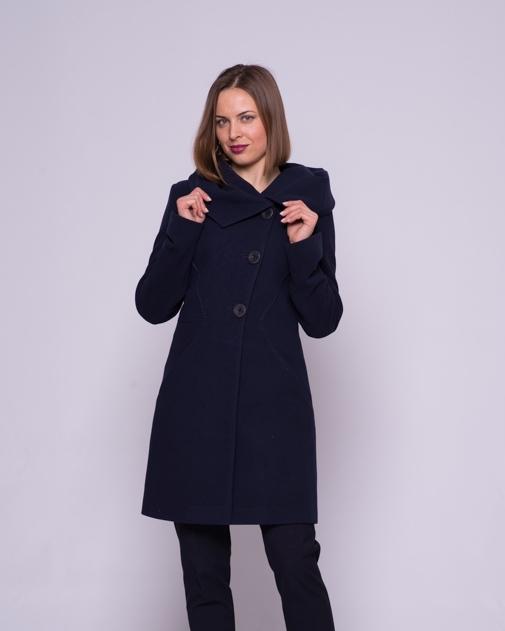 Пальто приталенное, капюшон синее