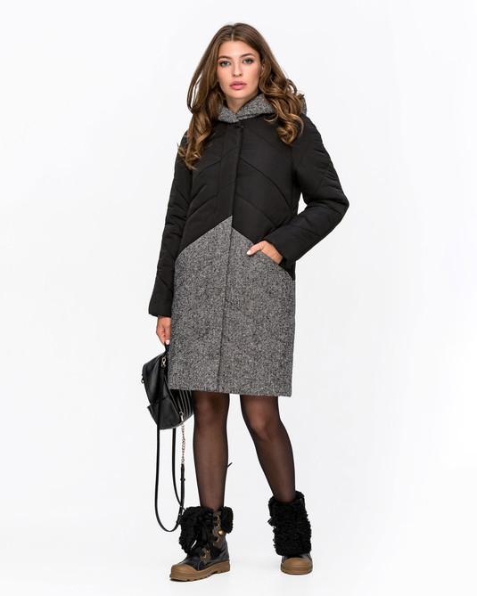 Куртка с твидом черно-серый