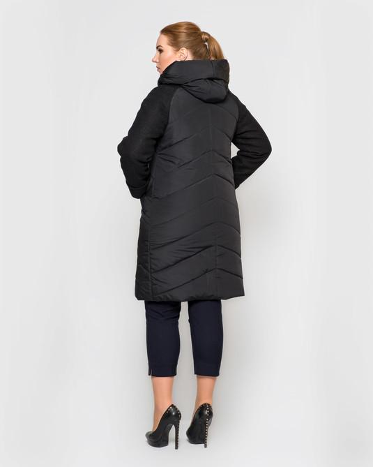 Куртка с вареной-шерстью черный