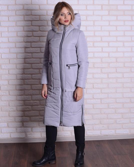 Зимняя длинная куртка светло-серый