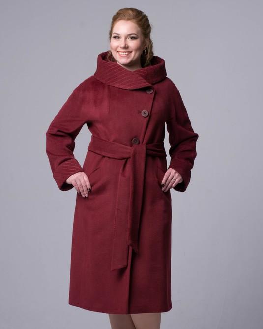 Пальто с капюшоном ботал бордо