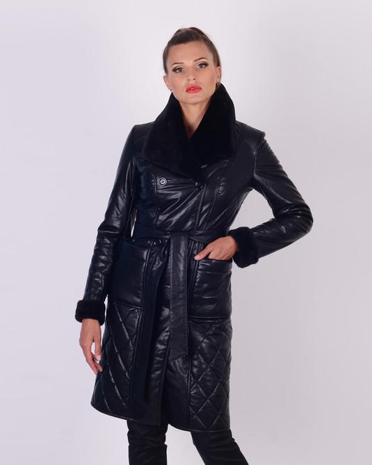 Утепленное пальто из эко-кожи черный