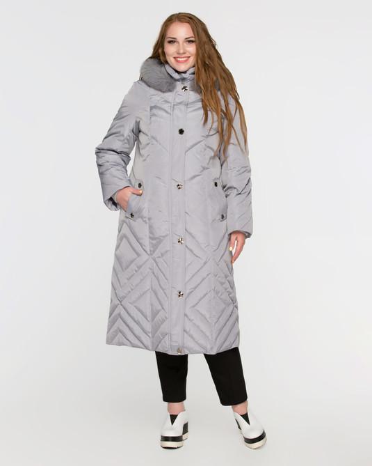Длинное пальто на пуху светло-серое