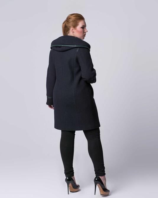 Пальто шеростяное с кожей черное