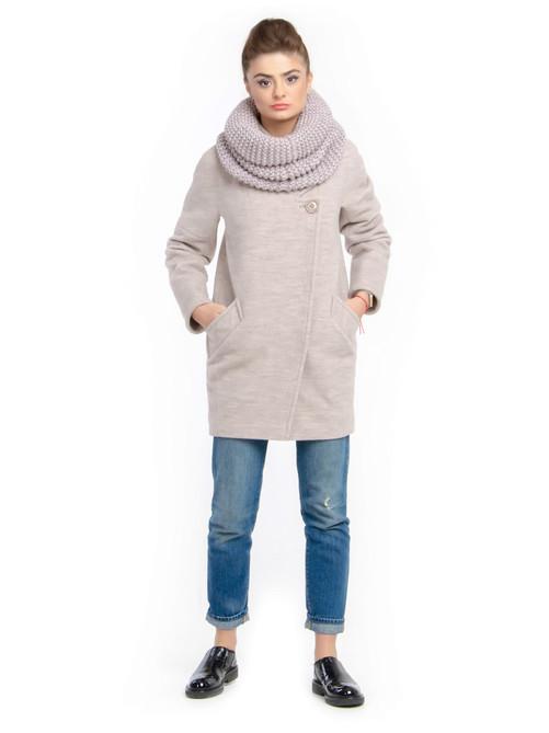 Пальто с хомутом светлый-беж