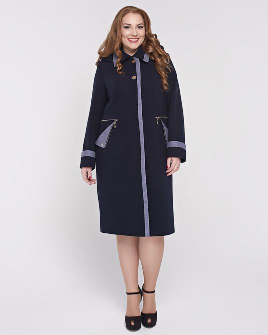 Пальто с кашюшоном съемным темно-синий