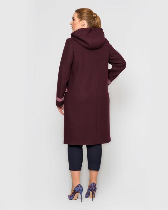 Пальто с кашюшоном съемным вишня