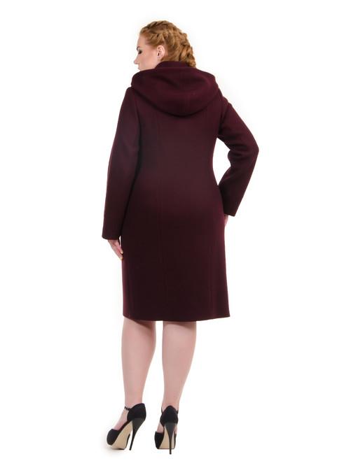 Пальто строгое с капюшоном вино