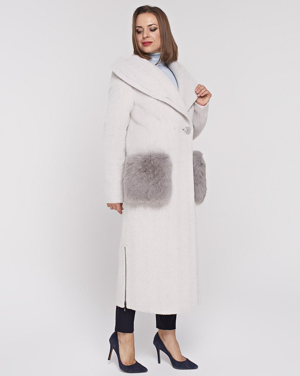 пальто макси с меховыми карманами