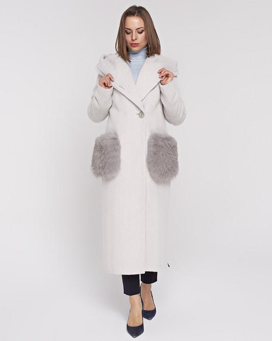 пальто макси с меховыми карманами серое