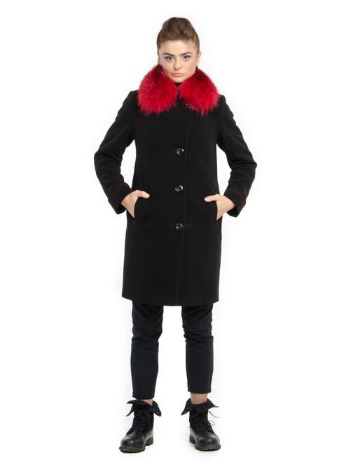 Пальто с контрасным мехом черное-красное