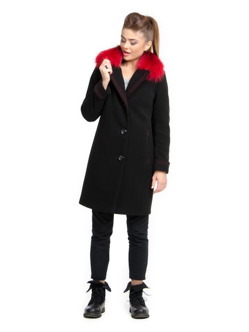 Пальто с контрасным мехом черное