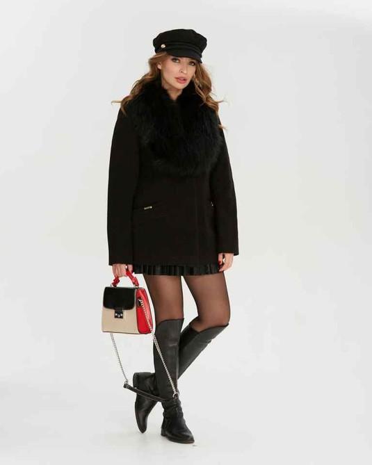 Короткое пальто с шалью черное