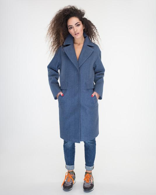 Пальто оверсайз синее