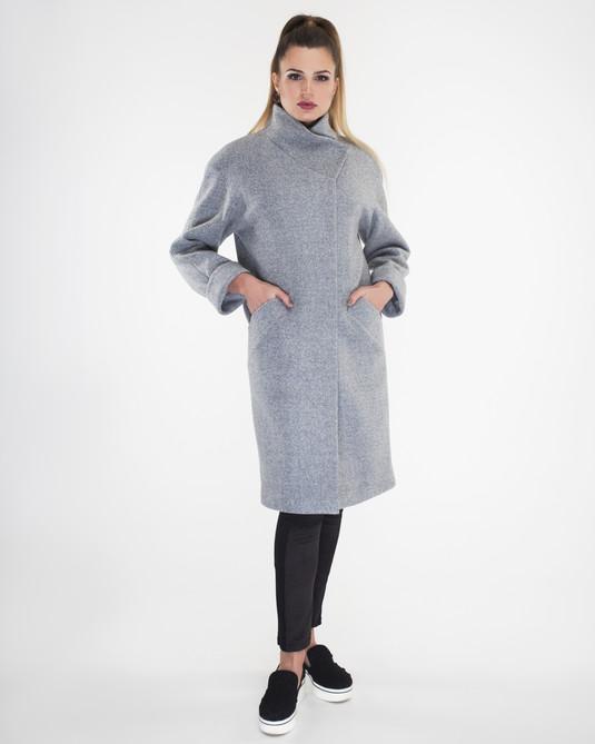 Пальто свобдный крой серое