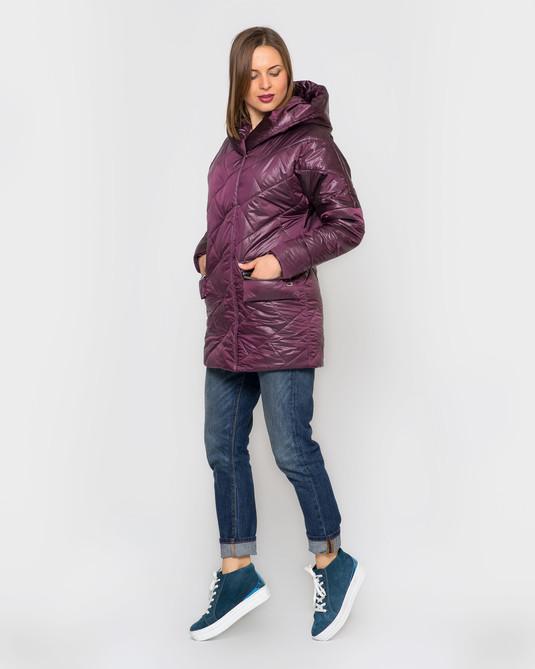 Куртка атлас с капюшоном марсала