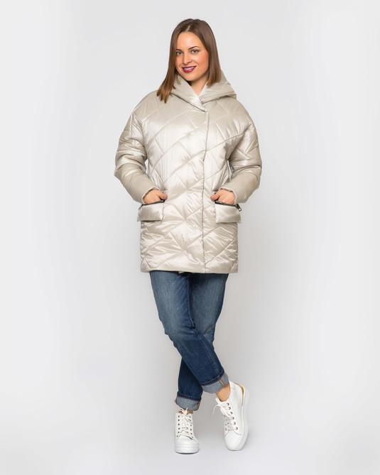 Куртка атлас с капюшоном беж