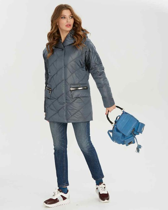 Куртка атлас с капюшоном серая