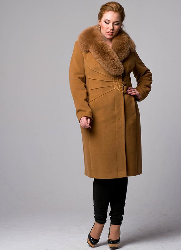 Пальто зимне воротник шаль