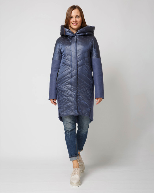 Комбинированное пальто синий