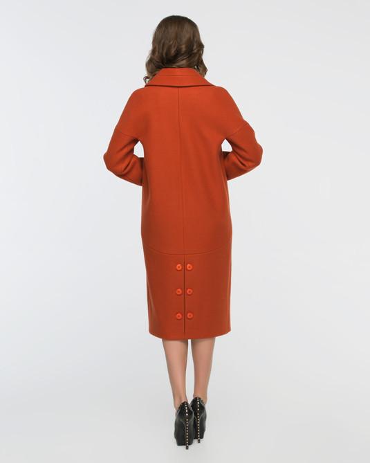 Пальто двубортное терракотовое