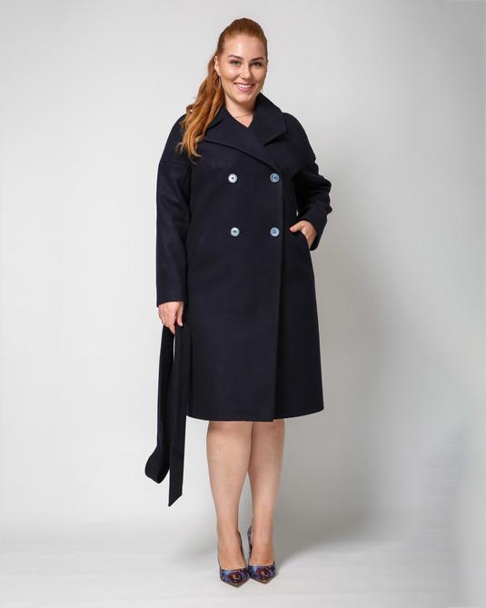 Пальто двубортное синее