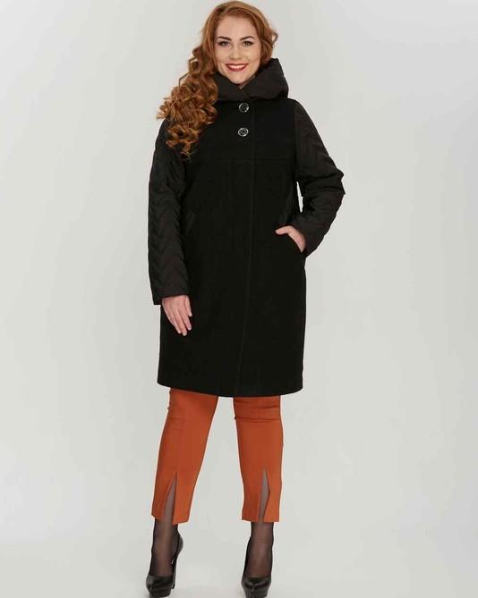 Пальто комбинированное черное