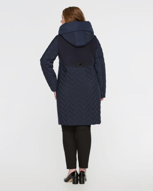 Пальто комбинированное синее
