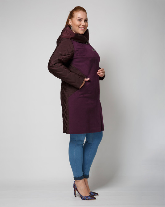 Пальто комбинированное слива