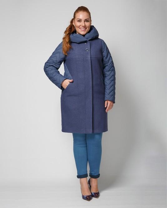 Пальто комбинированное джинс