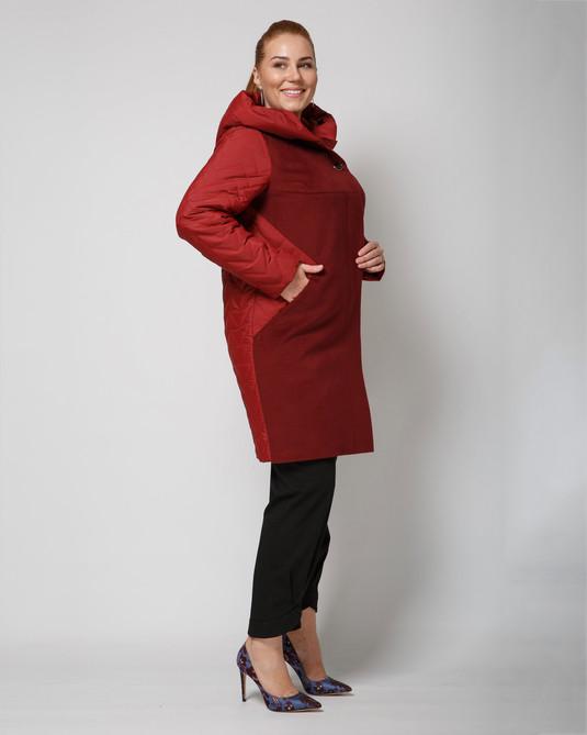 Пальто комбинированное бордо
