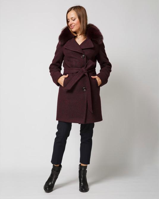 Пальто шерстяное марсала