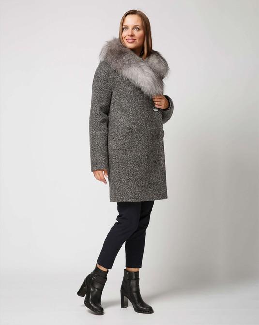 Зимнее пальто серый меланж