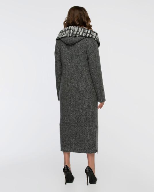 Пальто зимнее макси темно-серое