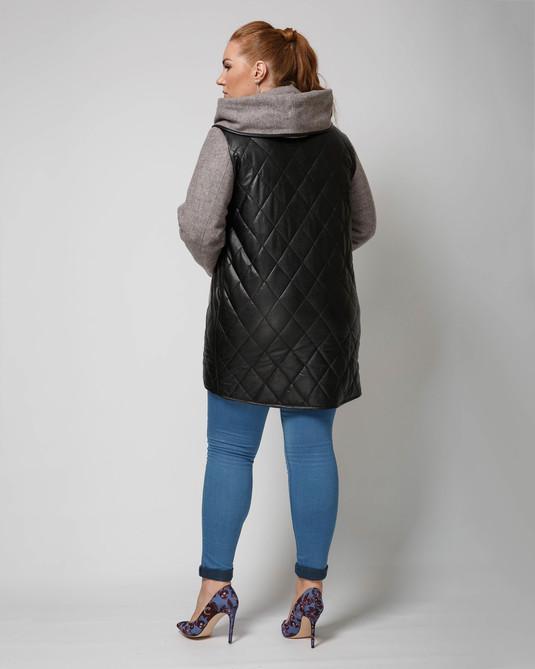 Куртка комбинированная пудра