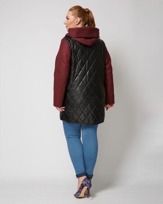 Куртка комбинированная бордо