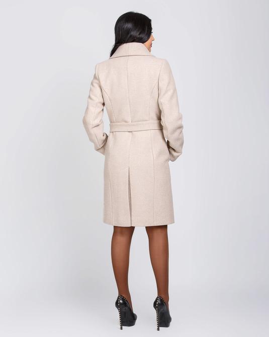 Пальто с шалевым воротником светлый беж