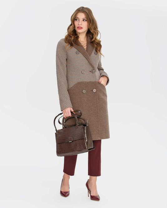 Двубортное пальто шоколад