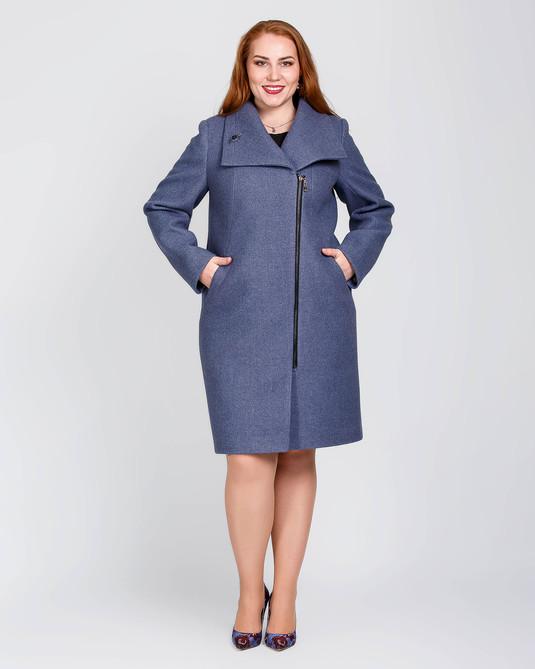 Пальто женское на молнии синий меланж