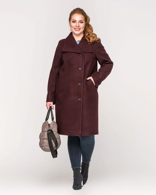 Пальто женское на пуговицах вино