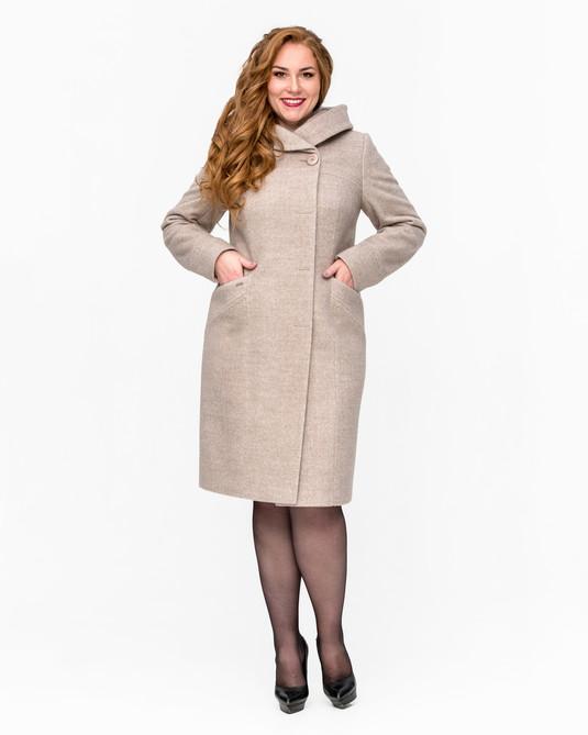 Пальто с капюшоном меланж беж