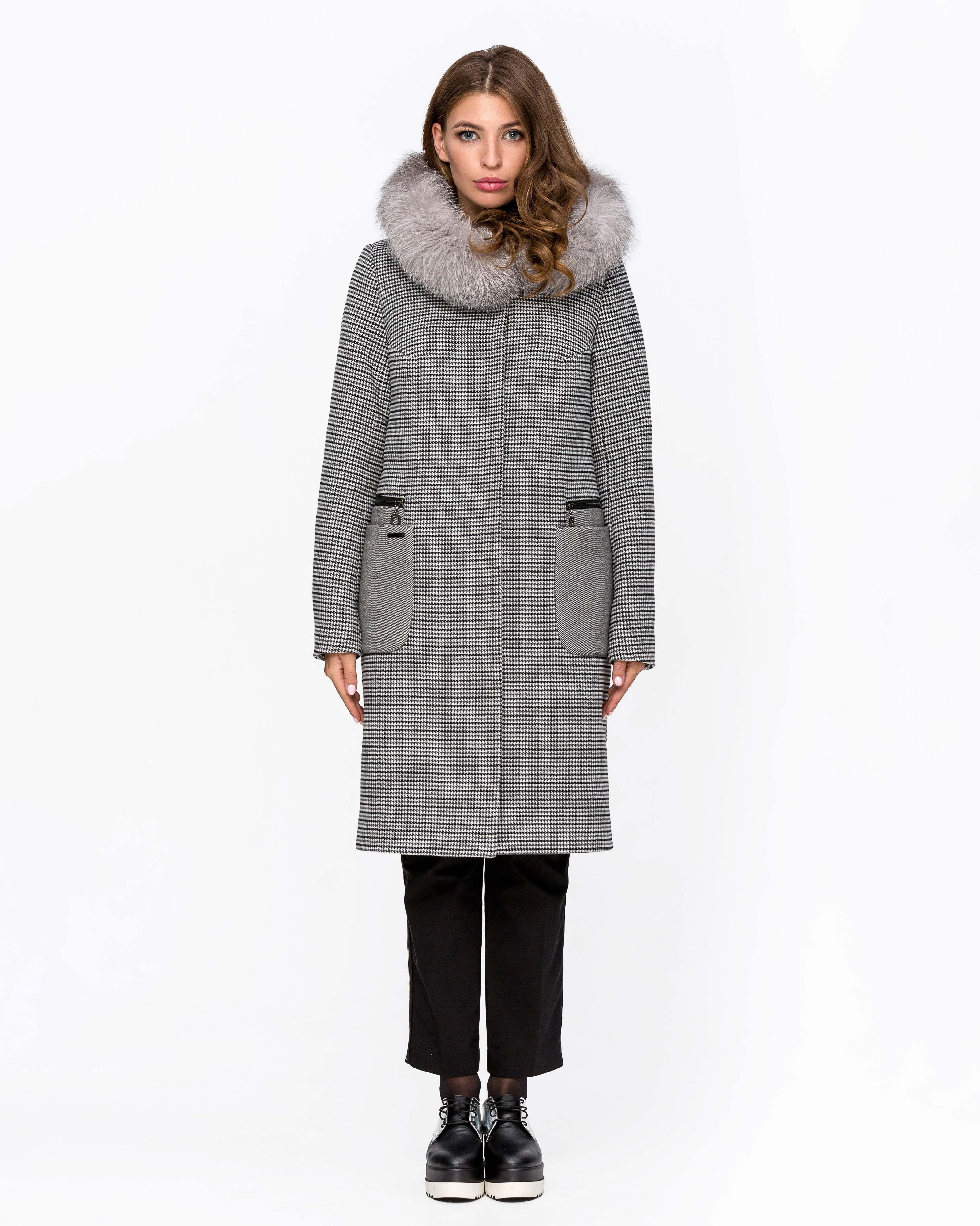 Зимнее пальто с мехом клетка