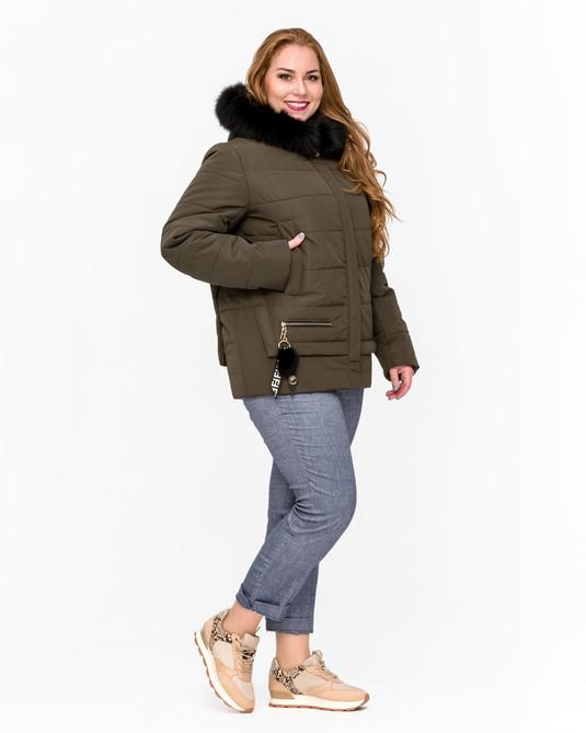 Куртка зимняя с мехом хаки