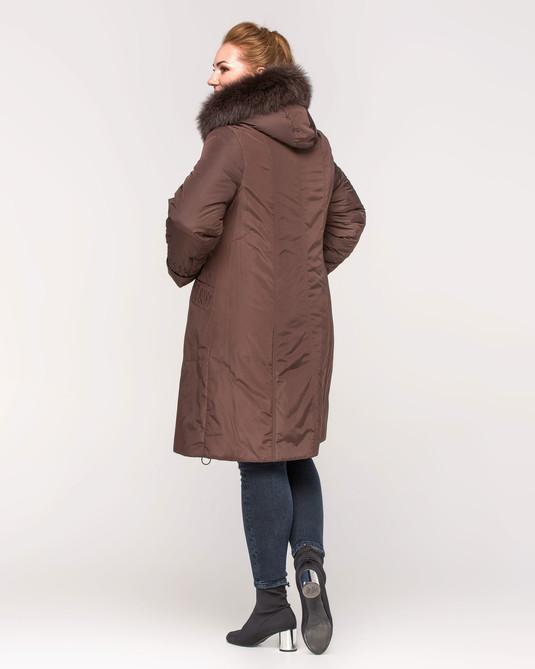 Куртка зимняя с вышивкой коричневый
