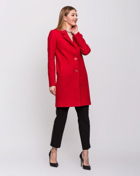 Пальто с английским воротом красное