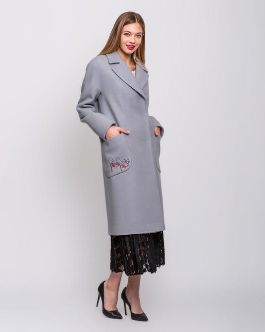 """Пальто """"Лабутены"""" серое"""